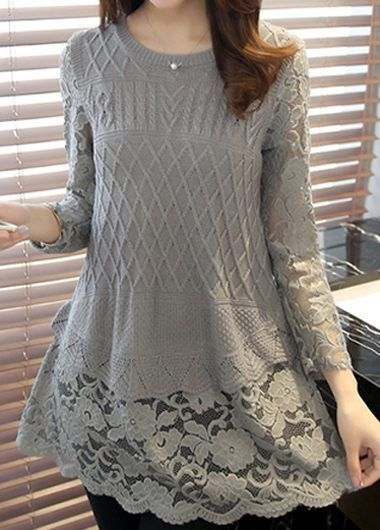Grey Lace Panel Round Neck Long Sleeve Sweater | https://t.co/wFYuO7INAd -...