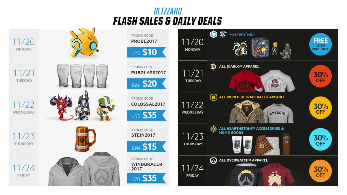 Mark your calendars - The Blizzard Gear Store will have special Flash sales...